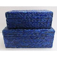 WOODEN INDIGO STORAGE BOX SET OF 2