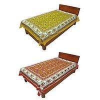 Silkworm Combo Of Yellow & Red Animal Print Single Bedsheet (Buy 1 Get 1 Free)