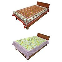 Silkworm Combo Of Red & Purple Animal & Floral Print Single Bedsheet (Buy 1 Get 1 Free)