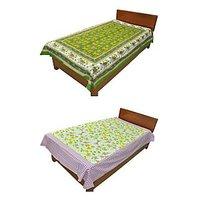 Silkworm Combo Of Green & Purple Animal & Floral Print Single Bedsheet (Buy 1 Get 1 Free)