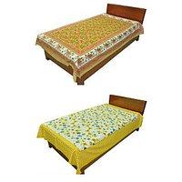 Silkworm Combo Of Brown & Yellow Animal & Floral Print Single Bedsheet (Buy 1 Get 1 Free)