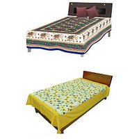 Silkworm Combo Of Blue & Yellow Animal & Floral Print Single Bedsheet (Buy 1 Get 1 Free)