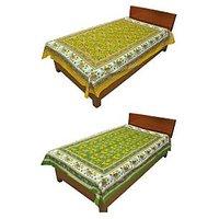 Silkworm Combo Of Yellow & Green Animal Print Single Bedsheet (Buy 1 Get 1 Free)