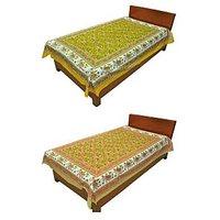 Silkworm Combo Of Yellow & Brown Animal Print Single Bedsheet (Buy 1 Get 1 Free)