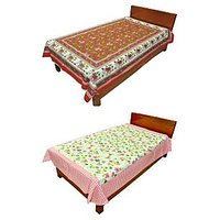 Silkworm Combo Of Red & Pink Animal & Floral Print Single Bedsheet (Buy 1 Get 1 Free)