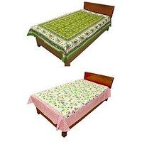 Silkworm Combo Of Green & Pink Animal & Floral Print Single Bedsheet (Buy 1 Get 1 Free)