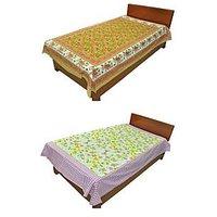 Silkworm Combo Of Brown & Purple Animal & Floral Print Single Bedsheet (Buy 1 Get 1 Free)
