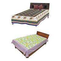 Silkworm Combo Of Blue & Purple Animal & Floral Print Single Bedsheet (Buy 1 Get 1 Free)