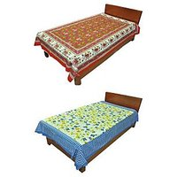 Silkworm Combo Of Red & Blue Animal & Floral Print Single Bedsheet (Buy 1 Get 1 Free)