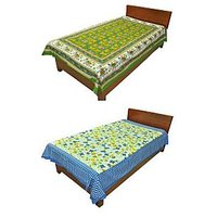 Silkworm Combo Of Green & Blue Animal & Floral Print Single Bedsheet (Buy 1 Get 1 Free)