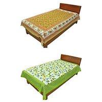 Silkworm Combo Of Brown & Green Animal & Floral Print Single Bedsheet (Buy 1 Get 1 Free)