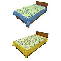 Silkworm Combo Of Blue & Yellow Floral Print Single Bedsheet (Buy 1 Get 1 Free)