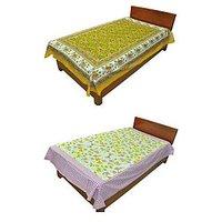 Silkworm Combo Of Yellow & Purple Animal & Floral Print Single Bedsheet (Buy 1 Get 1 Free)