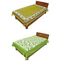 Silkworm Combo Of Yellow & Green Animal & Floral Print Single Bedsheet (Buy 1 Get 1 Free)
