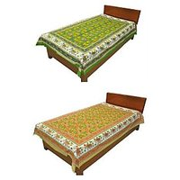 Silkworm Combo Of Green & Brown Animal Print Single Bedsheet (Buy 1 Get 1 Free)