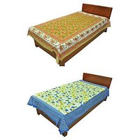 Silkworm Combo Of Brown & Blue Animal & Floral Print Single Bedsheet (Buy 1 Get 1 Free)