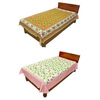 Silkworm Combo Of Brown & Pink Animal & Floral Print Single Bedsheet (Buy 1 Get 1 Free)
