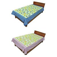 Silkworm Combo Of Blue & Purple Floral Print Single Bedsheet (Buy 1 Get 1 Free)