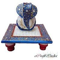 Bajya Lord Ganesha On Blue Marble Chowki