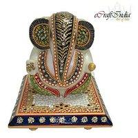 Bajya Delightful Lord Ganesha On Marble Chowki