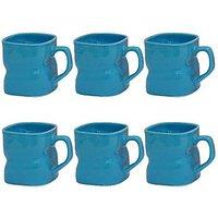 Mug - Tea / Coffee Mugs - Twisted Blue Ceramic Mug -  Blue Color - Set Of 6