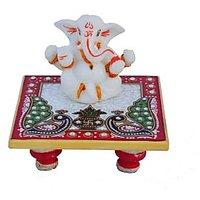 Bajya Chaturbhuj Lord Ganesha On Marble Chowki