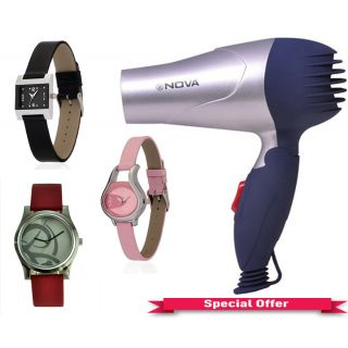 Buy 3 Assorted Watches And Get A Nova Hair Dryer Free