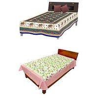 Silkworm Combo Of Blue & Pink Animal & Floral Print Single Bedsheet (Buy 1 Get 1 Free)