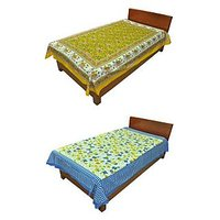 Silkworm Combo Of Yellow & Blue Animal & Floral Print Single Bedsheet (Buy 1 Get 1 Free)