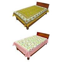 Silkworm Combo Of Yellow & Pink Animal & Floral Print Single Bedsheet (Buy 1 Get 1 Free)