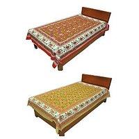 Silkworm Combo Of Red & Brown Animal Print Single Bedsheet (Buy 1 Get 1 Free)