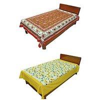 Silkworm Combo Of Red & Yellow Animal & Floral Print Single Bedsheet (Buy 1 Get 1 Free)