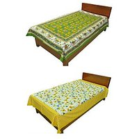 Silkworm Combo Of Green & Yellow Animal & Floral Print Single Bedsheet (Buy 1 Get 1 Free)