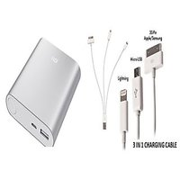 Mi 10400 MAH Power Bank Silver Colour With 3 In 1 Usb Charger