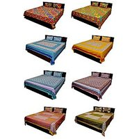 Silkworm Super Saver Combo Of 8 Jaipuri Double Bed Sheet With 16 Pilllow Covers