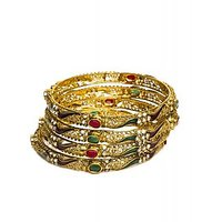 Joyas Diamond And Ruby Bangle Set For Women_12671_2.4
