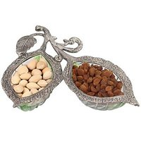 Sutra Decor 2 Leaf Dry Fruit Glass Decorative Platter