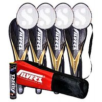 4 SILVER'S BLACKEN BADMINTON RACKETS WITH 4 INDIVIDUAL 3/4TH COVERS(ASSORTED) & 1 BOX SILVER'S SHUTTLECOCK MARVEL(PACK OF 10) & 1 SILVER'S KITBAG( 1 COMPARTMENT & 1 POCKET)
