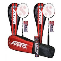 2 SILVER'S CENTRIC (UNIPIECE)  GRAPHITE SHAFT BADMINTON RACKETS(ASSORTED) WITH 2 INDIVIDUAL FULL COVERS & 1 BOX SILVER'S SHUTTLECOCK SUZUKI(PACK OF 10) & 2 SILVER'S PVC GRIPS & 1 SILVER'S KITBAG( 1 COMPARTMENT & 1 POCKE