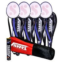 4 SILVER'S FP-2 BADMINTON RACKETS WITH 4 INDIVIDUAL 3/4TH COVERS(ASSORTED) & 1 BOX SILVER'S SHUTTLECOCK MARVEL(PACK OF 10) & 1 SILVER'S KITBAG( 1 COMPARTMENT & 1 POCKET)
