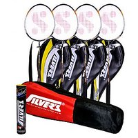 4 SILVER'S LEGEND BADMINTON RACKETS WITH 4 INDIVIDUAL 3/4TH COVERS(ASSORTED) & 1 BOX SILVER'S SHUTTLECOCK MARVEL(PACK OF 10) & 1 SILVER'S KITBAG( 1 COMPARTMENT & 1 POCKET)