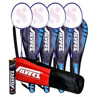 4 SILVER'S MICRO BADMINTON RACKETS WITH 4 INDIVIDUAL 3/4TH COVERS(ASSORTED) & 1 BOX SILVER'S SHUTTLECOCK MARVEL(PACK OF 10) & 1 SILVER'S KITBAG( 1 COMPARTMENT & 1 POCKET)