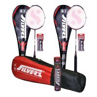 2 SILVER'S SUZUKI BADMINTON RACKETS(ASSORTED) WITH 2 INDIVIDUAL FULL COVERS & 1 BOX SILVER'S SHUTTLECOCK SUZUKI(PACK OF 10) & 2 SILVER'S PVC GRIPS & 1 SILVER'S KITBAG( 1 COMPARTMENT & 1 POCKET)