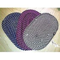 Sajawatt Multicolor Oval Cotton Mats - Set Of 3 (Pink, Blue, Grey)