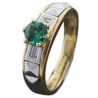 Emerald Diamond Ring In 18 Kt Yellow Gold