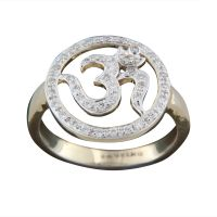 The Divine Om Ring - 18 Kt White Gold