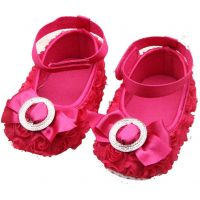 Antiskid Floral Prewalker Shoes - Raspberry (9 - 18 Months)