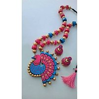 Peacock Design Terracotta Jewellery Set Pink Blue And Golden