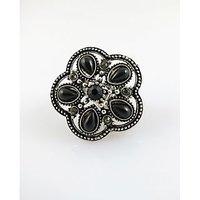 Chamakdamak Flower Oxidised Silver Ring With Black Diamonds