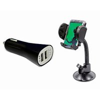 Speedwav Dual Usb Car Mobile Charger Fly Mobile Holder With Frame